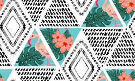 Grunge tropical  seamless pattern Royalty Free Stock Photo