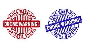 Grunge trutnia ostrzeżenie! Textured Round Watermarks ilustracja wektor