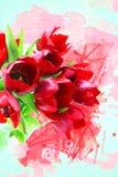 Grunge tulips background Stock Photos