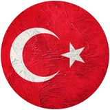 Grunge Turkey flag. Turkish button flag Isolated on white backgr Stock Photos
