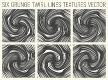 6 Grunge Twirl Lines Textures Vector Royalty Free Stock Image