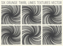 6 Grunge Twirl Lines Textures Vector. Set of Six Grunge Hand Drawn Decorative Twirl Lines Textures Vector Abstract Background Stock Photos