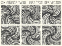 6 Grunge Twirl Lines Textures Vector Stock Photography