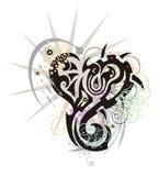 Grunge twirled freakish dragon heart Stock Image