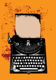 Grunge typewriter with a sheet Stock Photography