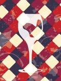 Grunge uitstekende achtergrond met wijnglas Restaurantontwerp Stock Foto's