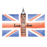 Grunge UK flag, London famous landmark tower. Travel sign Stock Photo