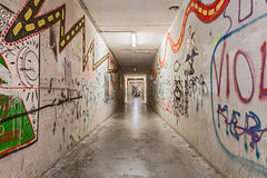 Grunge underpass with graffiti Royalty Free Stock Image