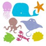 Grunge Underwater Animals Royalty Free Stock Photography
