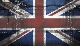 Grunge Union Jack Flag. On steel Royalty Free Stock Images