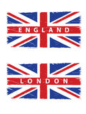 Grunge Union Jack flags. With titles London and England Royalty Free Stock Photos