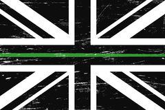 Grunge United Kingdom flag with a thin green line. A sign to honor and respect british border patrol, park rangers and federal agents royalty free illustration