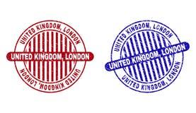 Grunge UNITED KINGDOM, LONDON Textured Round Stamp Seals vector illustration