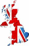 Grunge United Kingdom map with flag inside. Illustration, Map of Great Britain vector, Abstract grunge mosaic flag of Great Britain royalty free illustration