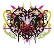 Grunge unusual eagle heart splashes. Abstract heart formed by the eagle heads with red wings, arrows, snake elements and colorful drops royalty free illustration