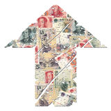 Grunge up Yuan arrow Royalty Free Stock Image