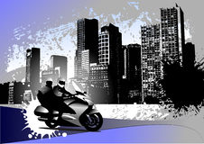 Grunge urban background with two bikers image Stock Images