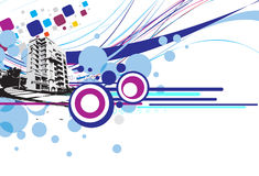 Grunge urban city. Abstract grunge urban city on a wave line background, vector illustration royalty free illustration