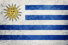 Grunge Urugwaj flaga Urugwaj flaga z grunge teksturą Obrazy Stock