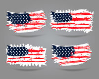 Grunge the US flag. Vector image of american flag. An USA flag with a grunge texture. Can be used to cover, poster, banner, printing on T-shirt. The spots Stock Photo