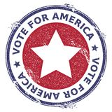 Grunge US patriotic stars rubber stamp. USA presidential election patriotic seal with US patriotic stars silhouette and Vote For America text. Rubber stamp Stock Photography