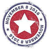 Grunge US patriotic stars rubber stamp. USA presidential election patriotic seal with US patriotic stars silhouette and November 8, 2016 text. Rubber stamp Royalty Free Stock Images