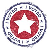 Grunge US patriotic stars rubber stamp. USA presidential election patriotic seal with US patriotic stars silhouette and I voted text. Rubber stamp vector Royalty Free Stock Photography