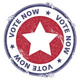 Grunge US patriotic stars rubber stamp. USA presidential election patriotic seal with US patriotic stars silhouette and Vote Now!. Text. Rubber stamp vector Stock Photo