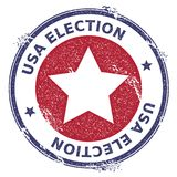 Grunge US patriotic stars rubber stamp. USA presidential election patriotic seal with US patriotic stars silhouette and USA Election text. Rubber stamp vector Royalty Free Stock Photo