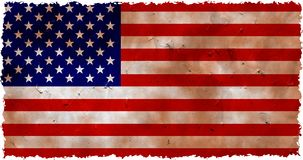 Grunge usa. Dirty and stained grunge flag of the USA with ragged edges too Stock Photo