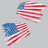 Grunge usa flag. Two perspective views of the USA flag in grunge style, all vector Royalty Free Stock Images