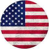 Grunge USA flag. American button flag Isolated on white backgrou Stock Photography