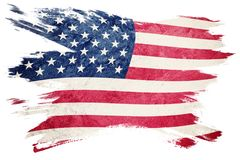 Grunge USA flag. American flag with grunge texture. Brush stroke. Brush stroke Stock Images