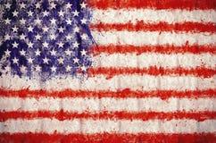 Grunge USA flag background. Grunge USA flag painted on textured wall Stock Image