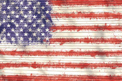 Grunge USA flag background. On wood Stock Images