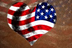 Grunge USA flag in heart shape Royalty Free Stock Images