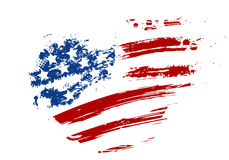 Grunge USA flag in heart shape. Grunge USA flag - splattered star and stripes in heart shape Royalty Free Stock Photos