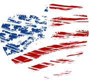 Grunge USA flag in heart shape. Grunge USA flag - splattered star and stripes in heart shape Stock Photo