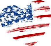 Grunge USA flag in heart shape Royalty Free Stock Photography