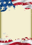 Grunge USA flag. A poster with a large scratched frame and a Grunge USA flag for your publicity Royalty Free Stock Photos