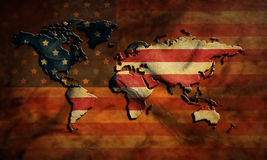Grunge USA map and flag Royalty Free Stock Photos