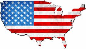 Grunge USA map with flag inside Royalty Free Stock Photography