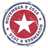 Grunge USA patriotic stars rubber stamp. USA presidential election patriotic seal with USA patriotic stars silhouette and November 8, 2016 text. Rubber stamp Royalty Free Stock Photos
