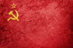 Grunge USSR flag. Soviet Union flag with grunge texture. Royalty Free Stock Photos
