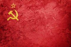 Grunge USSR flaga Sowieci - zrzeszeniowa flaga z grunge teksturą Zdjęcia Royalty Free