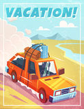 Grunge vacation background with car. Stock Photo