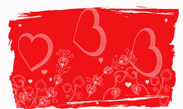 Grunge Valentine. A abstract valentine background with hearts swirls,heart shaped flowers Stock Photos