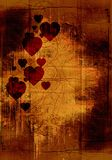 Grunge valentine background. Vintage decorated page with textures Stock Images