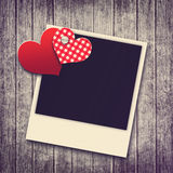 Grunge valentine background with two hearts and photo Stock Photo
