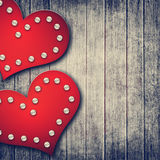 Grunge valentine background with two hearts Royalty Free Stock Photos